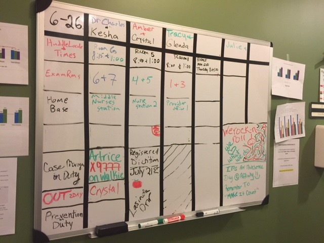 Image of Affinity Health Center's white board schedule.