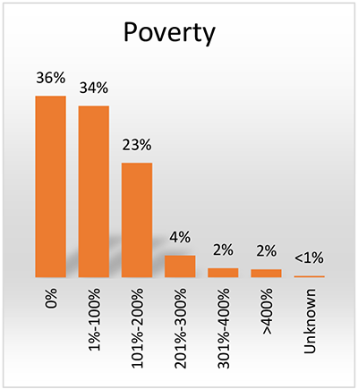 Chart showing the number of Affinity patients seen in July 2017 living in poverty.